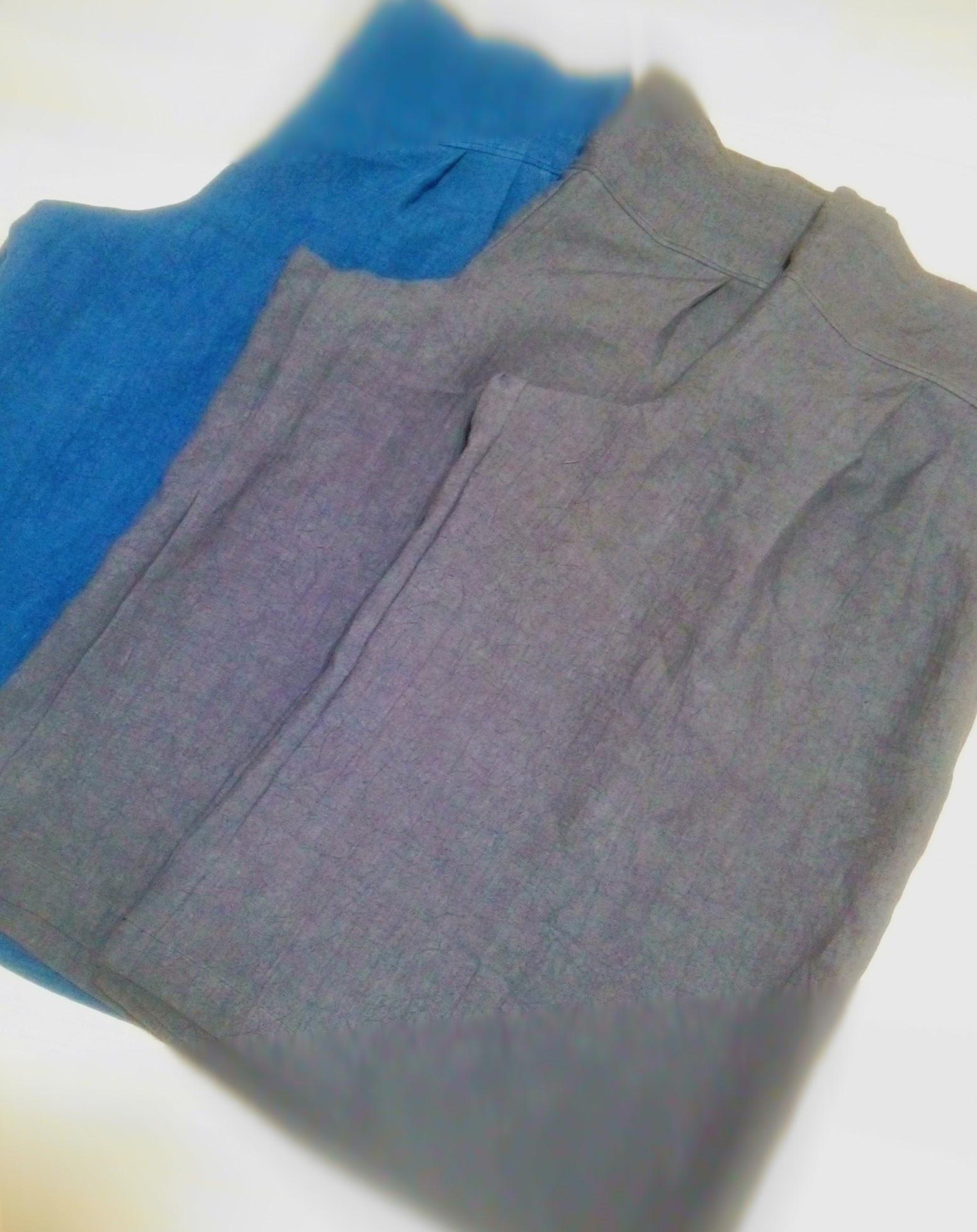 落ち着いた秋色。すみ黒と紺色のリネンキュロットスカート