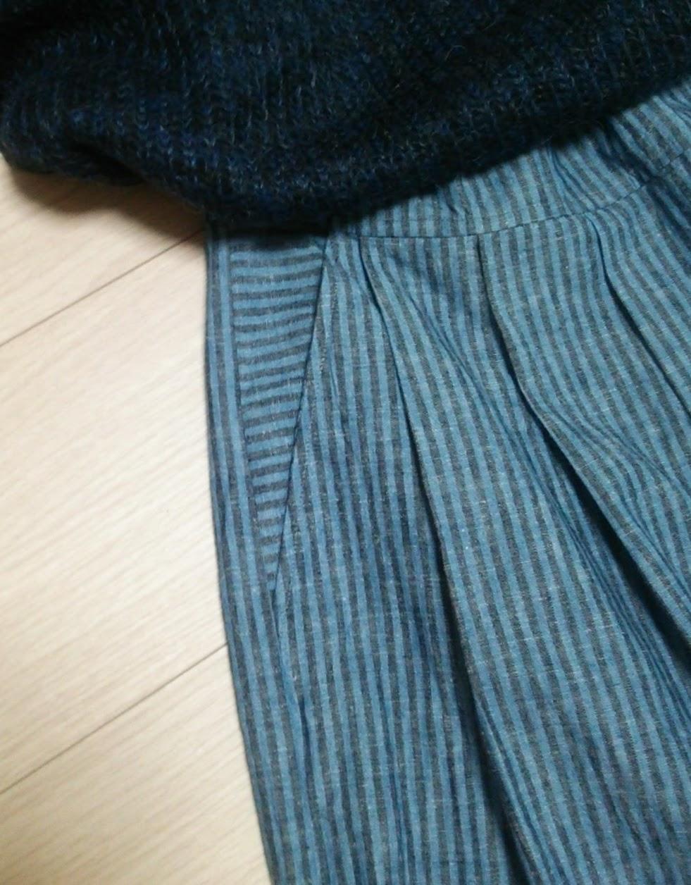 あか、あお、き。信号機色の3色でキュロットスカートもいいかな?