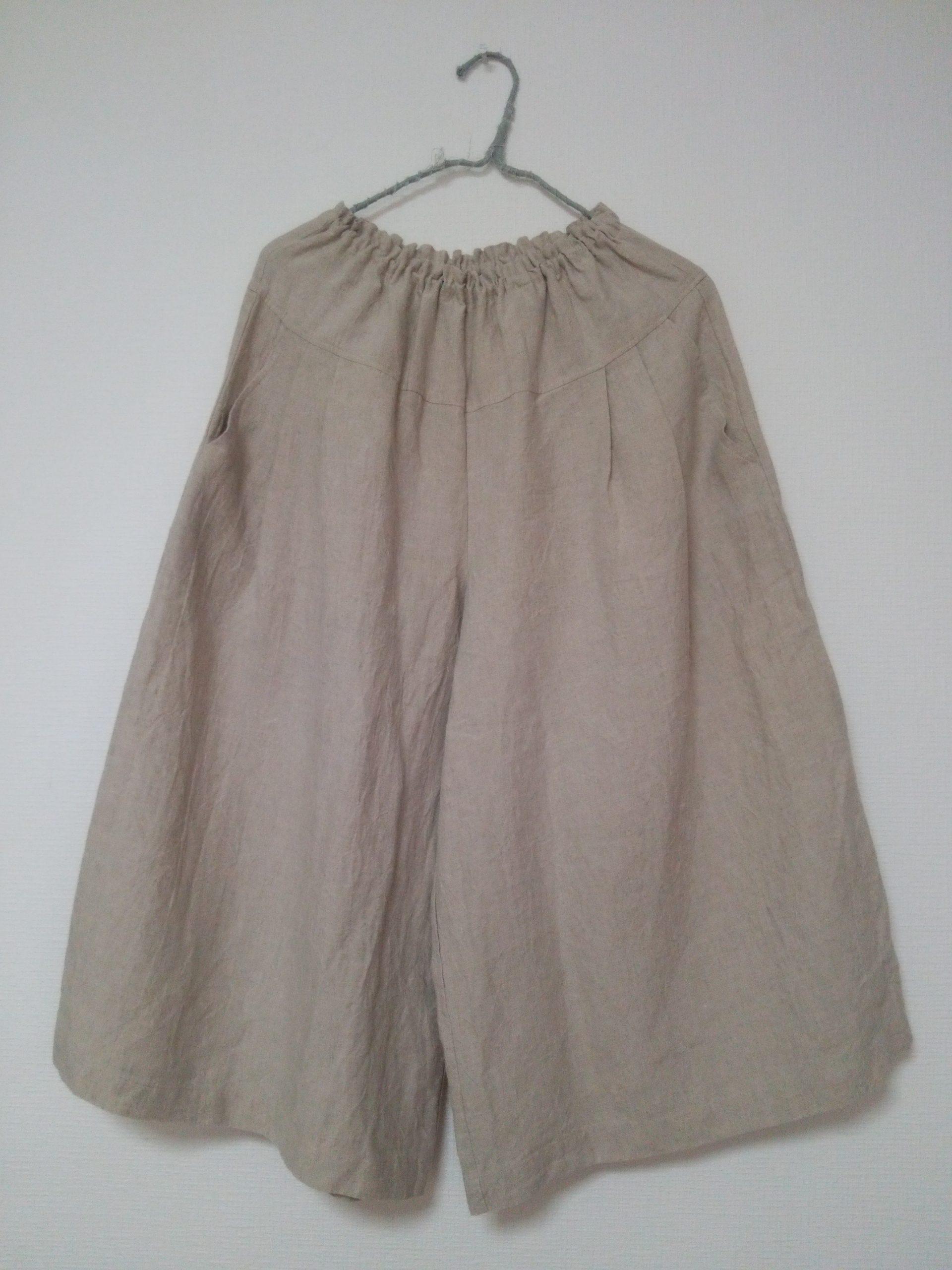 春のナチュラルリネン服 リネンのキュロットスカートキナリ先行販売いたします。