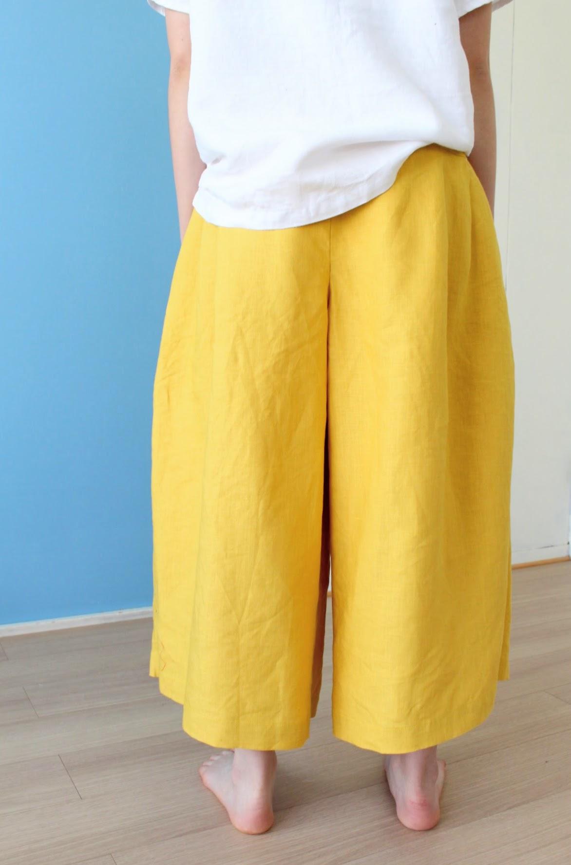 カラーリネンのキュロットスカートは、どんな感じなの?