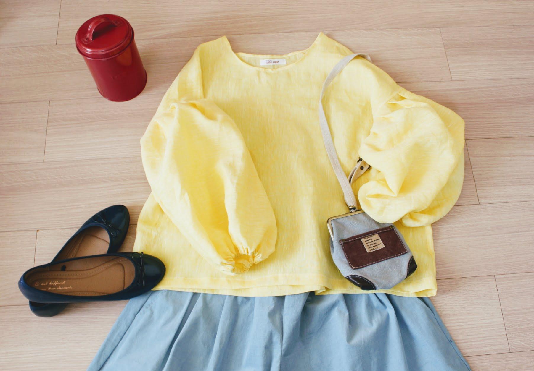 イエローとピンク。春色のお洋服コーデ楽しくなりますね。