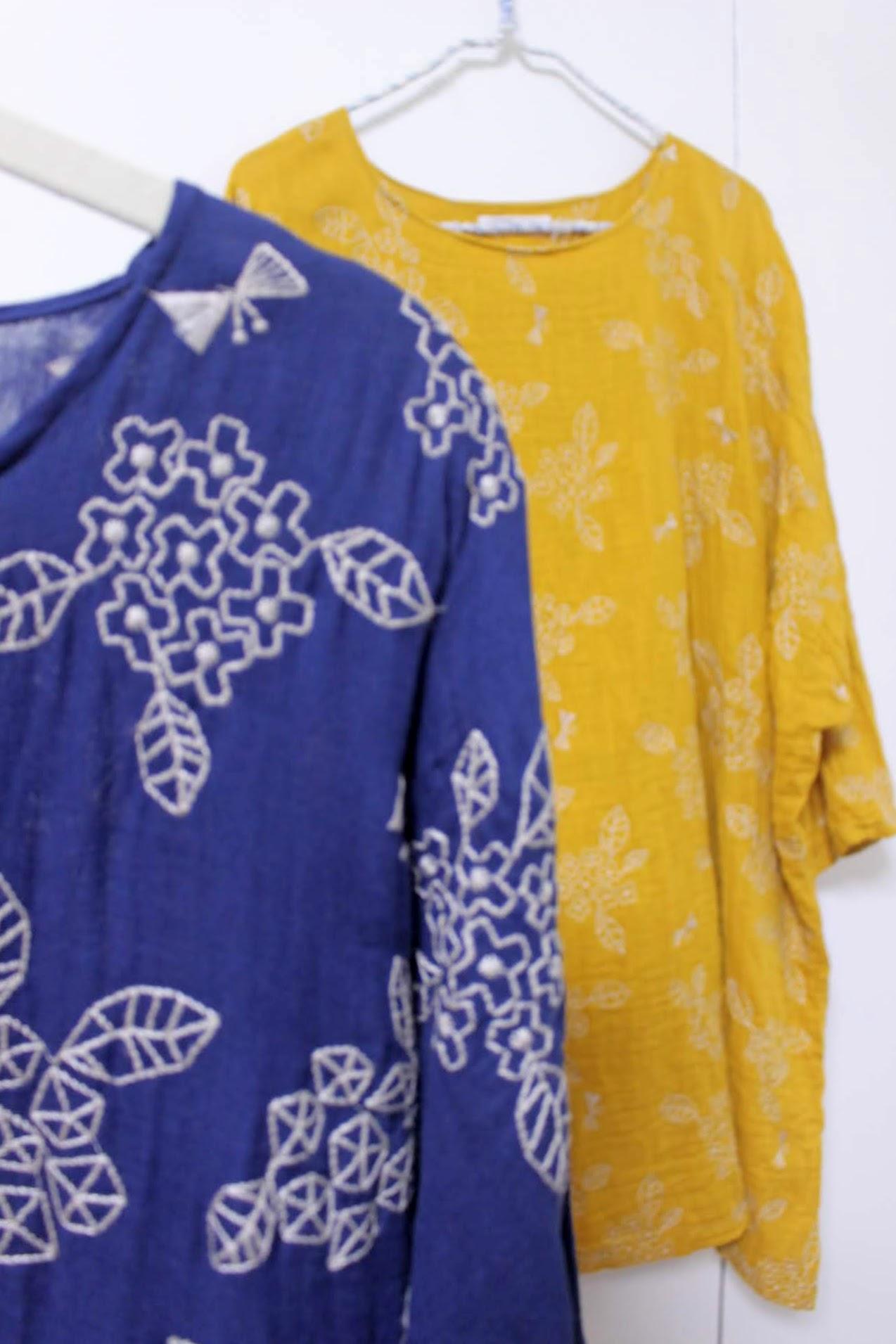 秋色の刺繍ガーゼ生地の在庫について