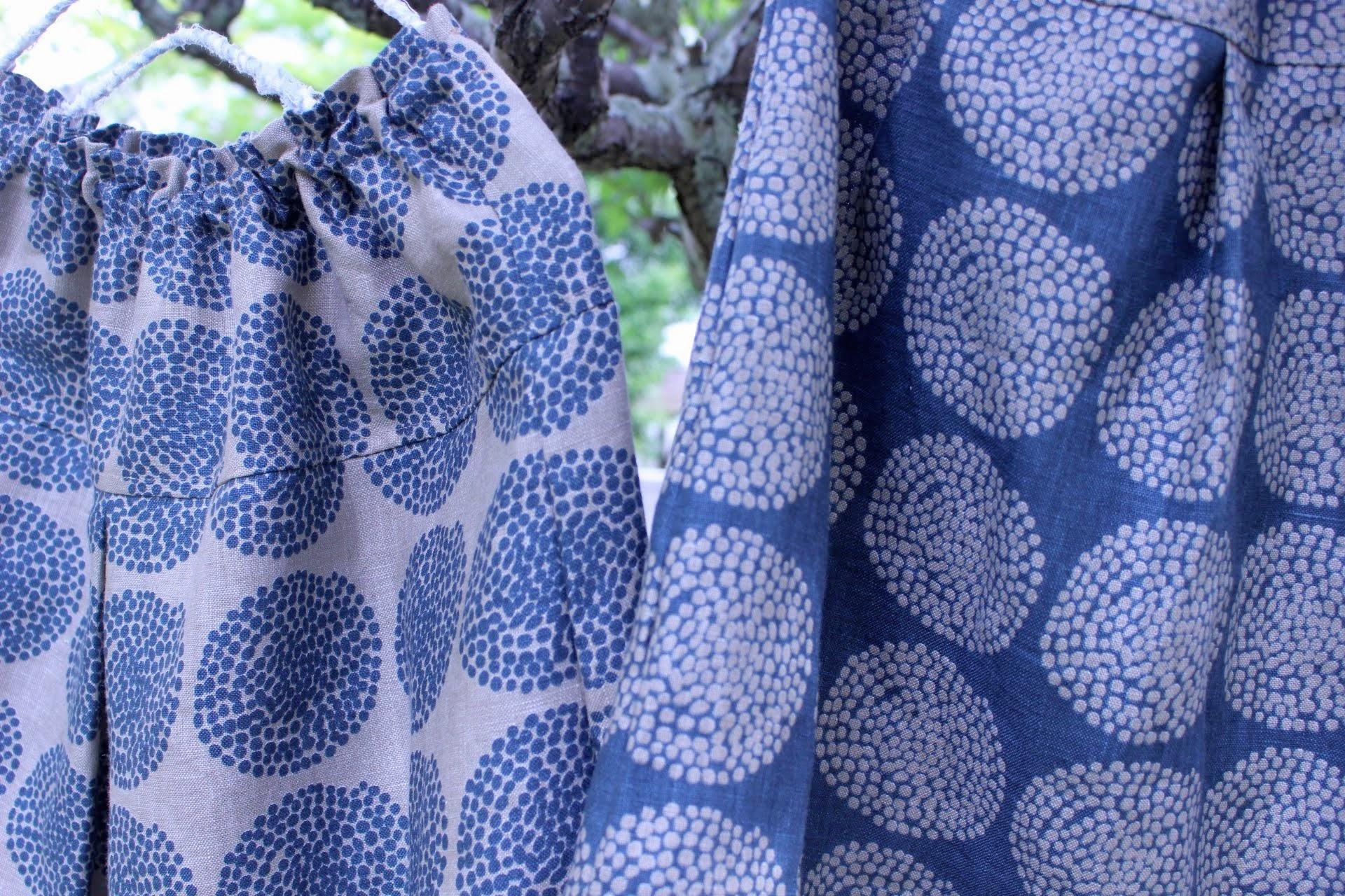 大人の雰囲気のリネンプリント柄スカート