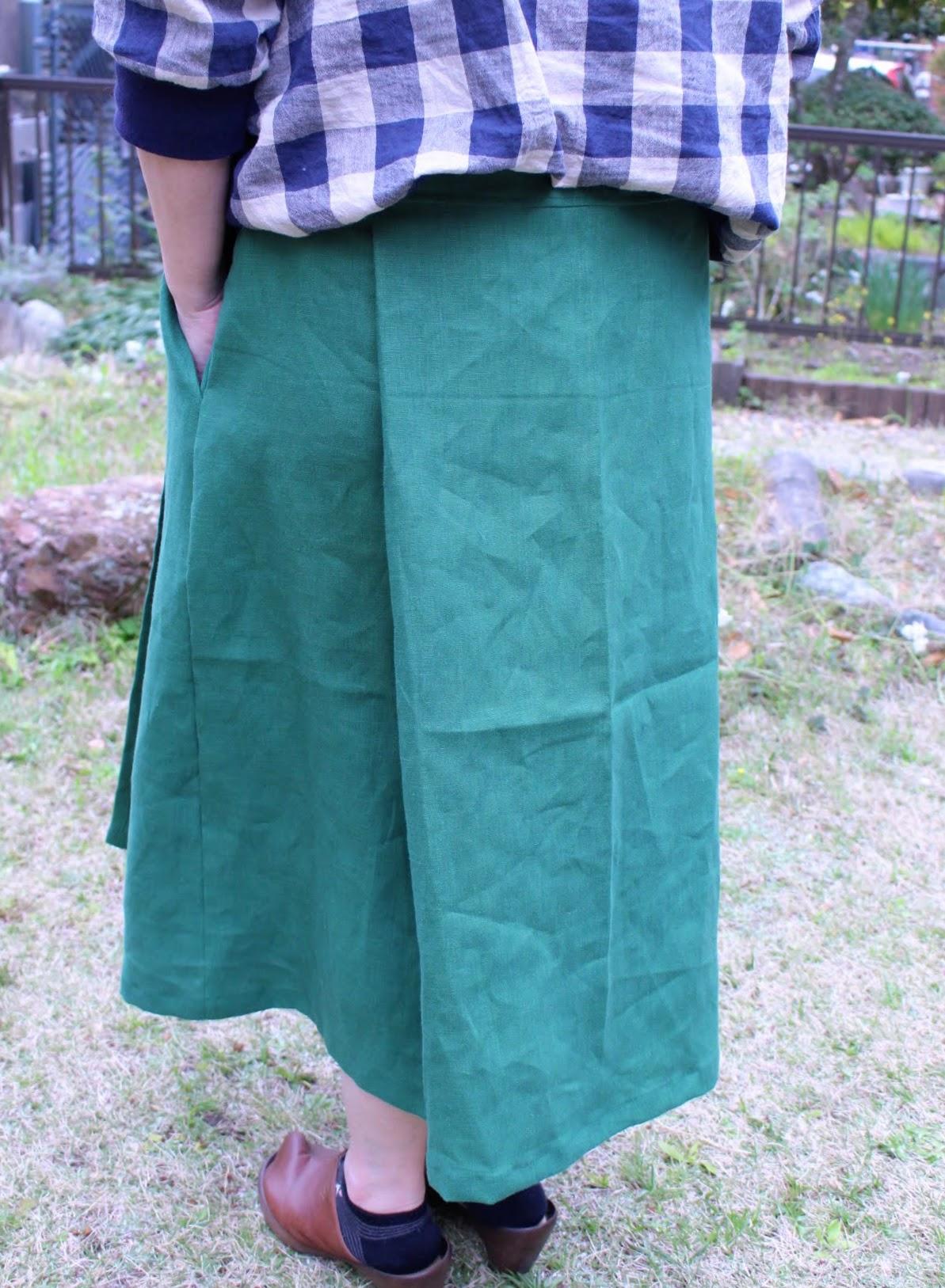 カラーリネン のラップスカート