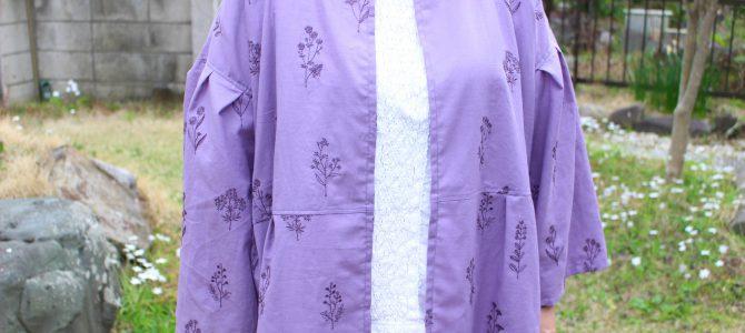 ふんわり袖の春コート 紫刺繍