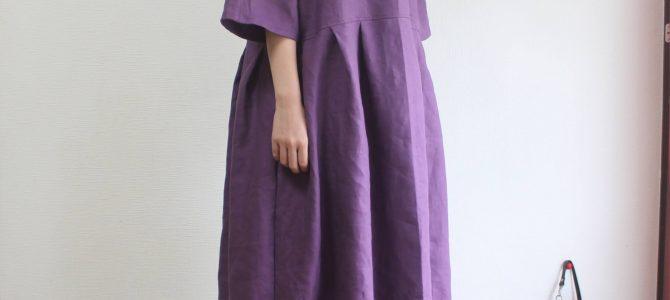 カラーリネン 紫のドルマン切り替えワンピース